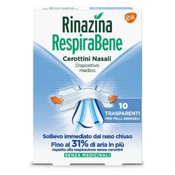 Rinazina RespiraBene 10 cerotti nasali trasparenti
